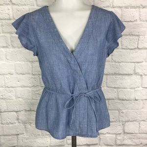 J. Crew Size 4 Flutter Sleeve Chambray Wrap Top
